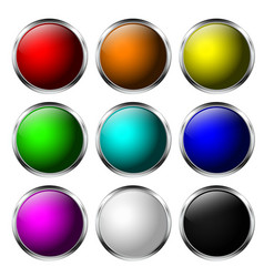 glass buttons round 3d icons with chrome frame vector image
