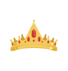 Golden ancient tiara or crown with red precious vector