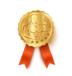 Golden medal for bodybuilding vector
