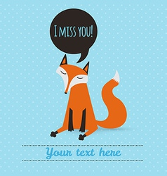 greeting card with cute fox holiday backdrop vector image