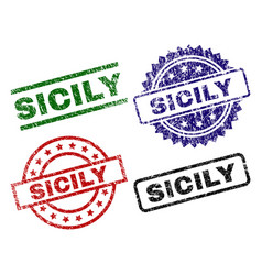 Grunge textured sicily seal stamps vector