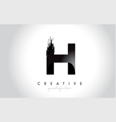 h letter design with brush stroke and modern 3d vector image