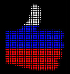 Halftone russian thumb up icon vector