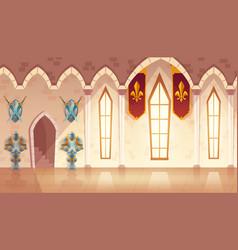 Hall in medieval castle royal ballroom vector