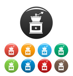 hand coffee grinder icons set color vector image