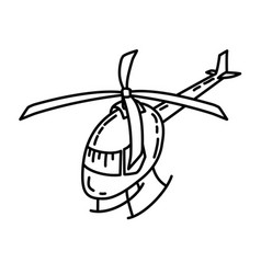 helicopter icon doodle hand drawn or outline icon vector image