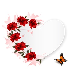 Holiday background with red flowers and butterfly vector