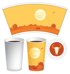 hot drinks paper cup sample with western landscape vector image
