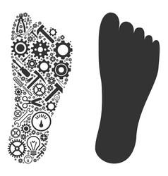 Human footprint mosaic of service tools vector