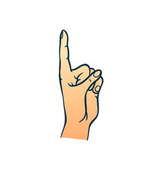 human hand with index finger up gesture in sketch vector image