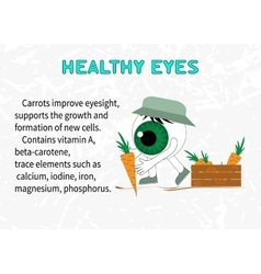 Info about the benefits of carrot for eyesight vector