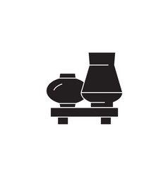 interior vases black concept icon interior vector image