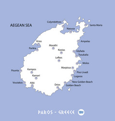 island of paros in greece white map and blue vector image