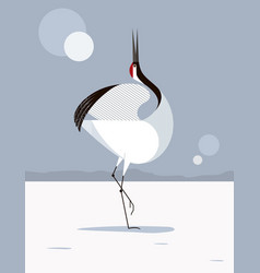 japanese crane love dance vector image