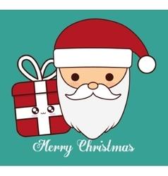 Kawaii santa and gift of christmas season vector