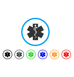 life star medical emblem rounded icon vector image
