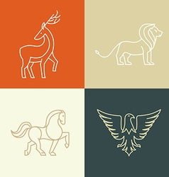 Linear icons and logo design elements vector