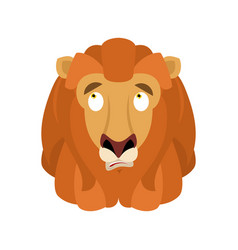lion confused emoji face avatar wild animal is vector image