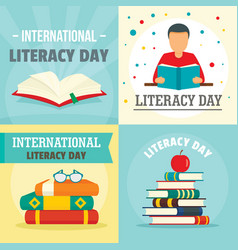 Literacy day book banner concept set flat style vector