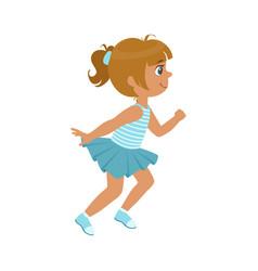 Little girl running in a blue dress kid in a vector