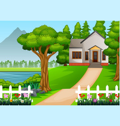 Little house in beautiful village with gr vector