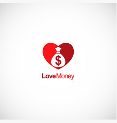 love money heart logo vector image