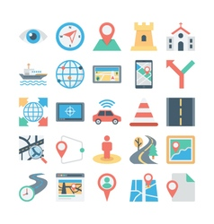 Map and Navigation Colored Icons 4 vector image