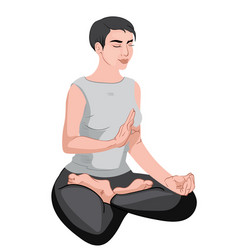 Mature woman sitting in lotus position and vector
