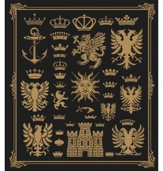 mega pack heraldic elements with baroque frame vector image