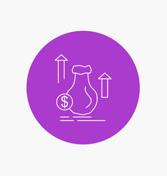 money bag dollar growth stock white line icon in vector image