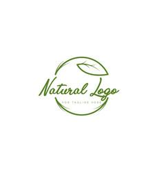 Natural logo design with leaf modern style vector