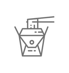 Noodle takeaway box japanese cuisine line icon vector