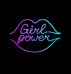 One line neon lips with girl power inscription vector