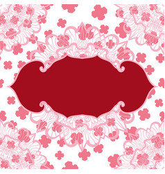 Pink blank frame on seamless stylized pattern vector