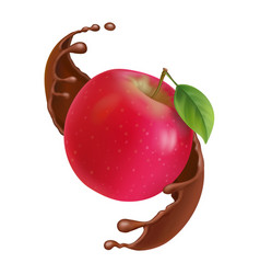Red apple in chocolate splash vector