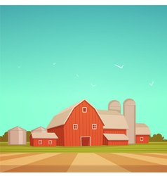 Red Farm Barn vector image