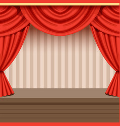 Retro theater scene background design with red vector