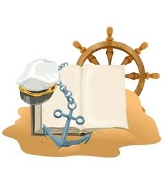 Sea Adventure Open book anchor captain cap and vector