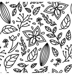 seamless black white floral pattern vector image