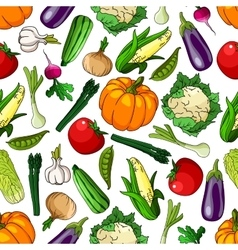 Seamless farm grown organic vegetables pattern vector
