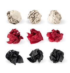 Set crumpled paper ball isolated on white vector