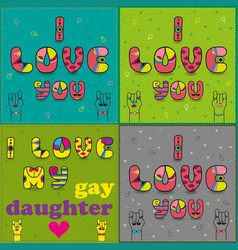 set of cards with romantic texts by artistic font vector image