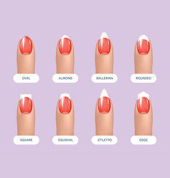 set of simple realistic red manicured nails with vector image