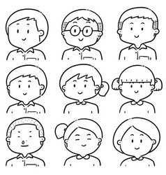 set of student face vector image