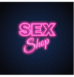 Sex shop neon sign vintage signage vector