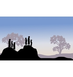 Silhouette of meerkat family vector image