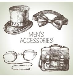 Sketch gentlemen accessories Hand drawn men set vector image