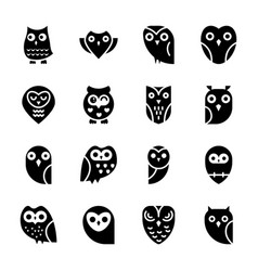 Solid icons set of owls vector