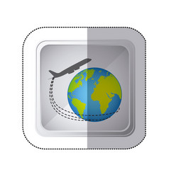Sticker silver square button with airplane around vector