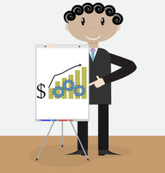 Success man presentation growth money vector image